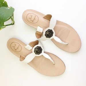 Jack Rogers Larissa White Leather Thong Sandal